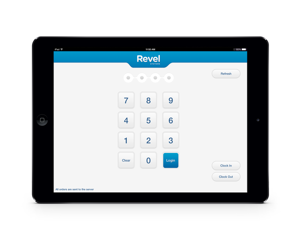 Revel Systems iPad POS PIN Screen on the iPad Air 2