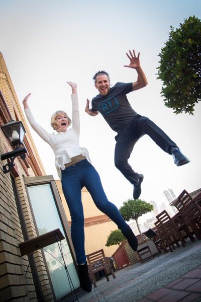 Revel Sales Team Alana Cloud and Alex Kane Jumping