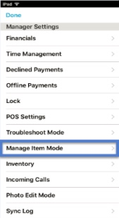 Manage Item Mode