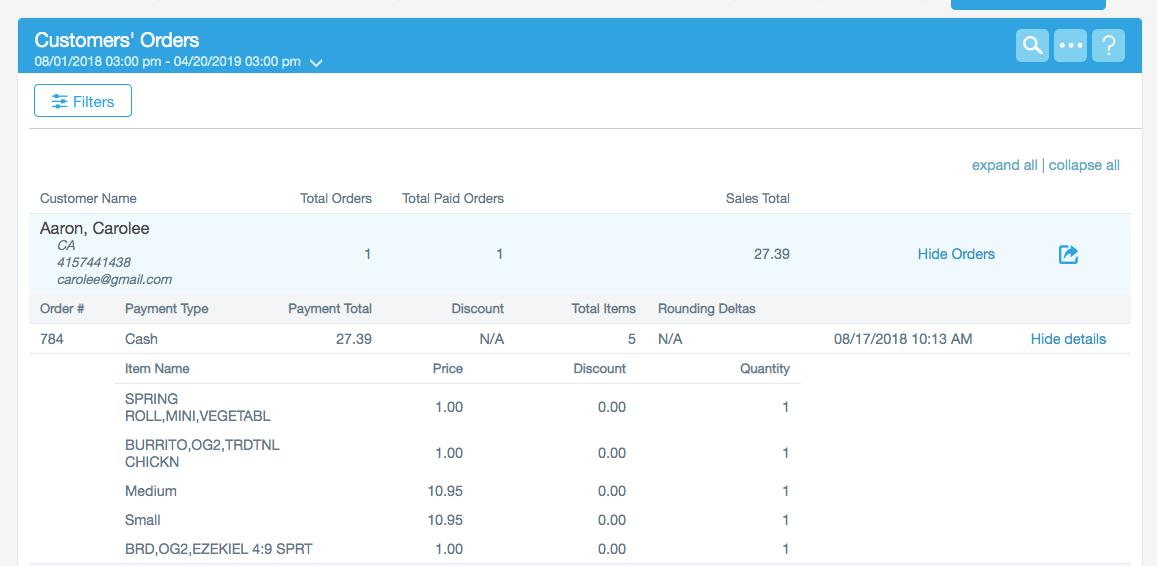 Customer order report
