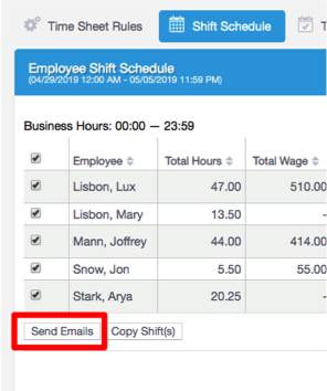 Send employee schedules in one click
