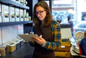 Employee evaluating inventory control